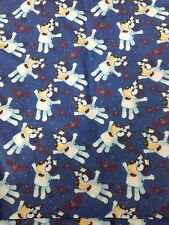 blue dog Poly Cotton Fabric 1m x 1.4m ( dark blue)