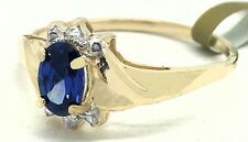 TANZANITE 0.54 Cts & DIAMONDS RING 10K YELLOW GOLD ** New With tag **