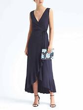 Banana Republic Ruffle-Wrap Maxi Knit Dress, Navy SIZE L          #166827  v1012