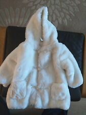 Bhs Baby's Ivory Faux Fur Coat Size 9-12 months