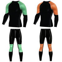 Men's Compression Outfits Sports Athletic Apparel Sets T Shirts Long Leggings
