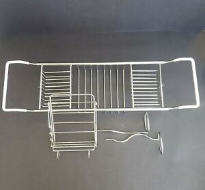 Stainless Steel Bathtub Caddy Adjustable Over Bath Tub Rack w/ Wine Book Holders
