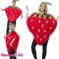 Strawberry Costume Ladies Mens Unisex Novelty Fruit Fancy Dress Red Farm Outfit