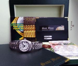 ROLEX  Ladies 18kt White Gold & SS Datejust White Roman Dial 179174 SANT BLANC