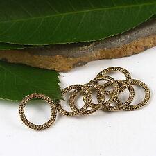 30pcs dark gold-tone heart ring charms h2277