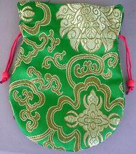 Embroidered Silk Prayer Bead Mala Bag GREEN w/ Drawstring