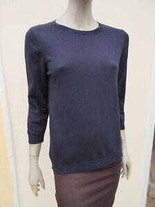 Next - Womens Dark Navy Soft Fine Knit Cotton Blend 3/4 Sleeve Jumper - size 16