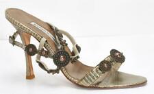 MANOLO BLAHNIK Womens Lizard High Heel Jeweled Slingback Sandals Pumps 9-39