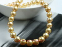 "AAAAA long 24""10-11mm NATURAL REAL round South sea golden pearl necklace 14K"