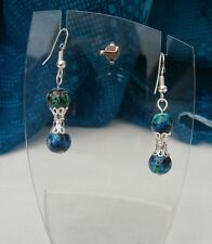 STUNNING Turquoise Teal Bead Silver Filigree Cap Pierced Earrings Hand Crafted