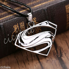 High Quality Unisex's Men Silver Stainless Steel Superman Pendant Necklace Chain