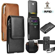 For iPhone Samsung Cell Phone Holster Pouch Leather Wallet Case With Belt Loop