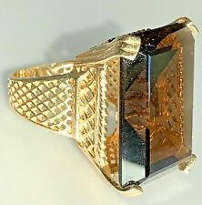 14K Yellow Gold Cage HUGE 30 Carat Emerald Cut Smokey Quartz Cocktail Ring