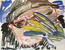 ART Brut  signature illisible ? Gouache 64,5 cm x 50 cm       d.