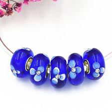 5pcs MURANO Lampwork charm Beads fit 925 silver European Bracelet Chain a317