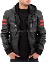 Aviatrix Mens Black Biker Hooded Racing Leather Retro Bomber Jacket Baseball RMY
