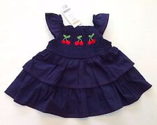 NWT Gymboree Cherry Cute 12-18 Months Navy Smocked Cherries Tiered Ruffle Top