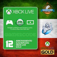 ABBONAMENTO 12 MESI ANNUALE XBOX LIVE GOLD PER XBOX ONE & 360 - Invio veloce!