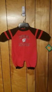 Wisconsin Badgers Baby Outfit 3/6 Months One Piece Long Sleeve RED BLACK Logo A3