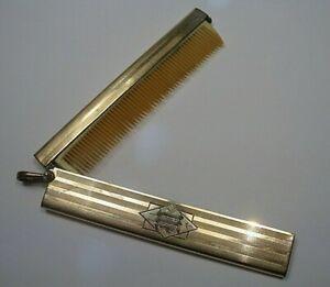 Vintage Antique Folding Mustache Comb. 79mm. Monogrammed.