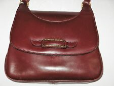 094ed255662 VINTAGE GUCCI LEATHER HANDBAG Burgundy Made in Italy 1960 s