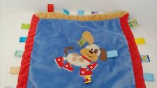 Taggies tan puppy dog red shoes sneakers blue security Blanket baby lovey satin