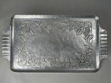 Hand Forged Everlast Metal Aluminum Tray w/ Grapevine Pattern Art Deco Handles