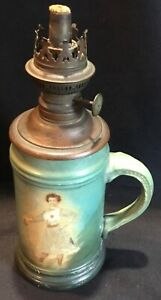 Antique Women's Fencing Miniature Oil Lamp Porcelain Mug Woman w/ Epee & Heart