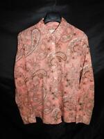 Orvis Sz 18 Pink Brown Paisley Floral Blouse Cotton Shirt Long Sleeve Button XL