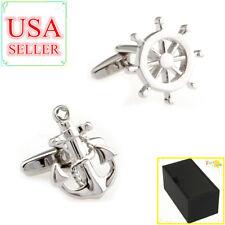 Fashion Men Shirt Cufflinks Silver Anchor & Wheel Helm Cuff Links With Gift Box