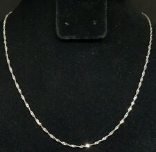 """Beautiful 14K White Gold Twisted Rope Necklace Chain 18"""" Inches at 1.2 Grams"""