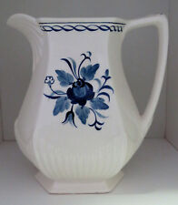 "Vintage 1960's Adams Baltic Ironstone Milk Pitcher Blue Flower 7"" England"