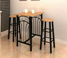 Breakfast Dining Set Bar Pub Wooden Steel Table 2 Stools Kitchen Furniture