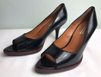 AND OTHER STORIES Black Leather Peep Toe Court Shoes EU 36 UK 3 Mid Heel Staple