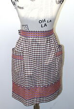 Vintage Half Apron Violet/ brown Gingham Feels Cotton With Hand Cross Stitched