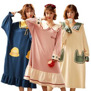 Women Cute Sleep Shirt Dress Cotton Long Sleeve Nightgown Cartoon Homewear Gown