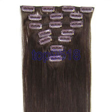 "Choose 15-28"" 7Pcs Clip in 100% human Remy Hair Extensions 24 Colors cheap 70g"