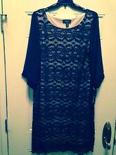 R&M RICHARDS® Plus Size Plum & Taupe Lace Sequin Sheath Dress, 18W *NWT $140