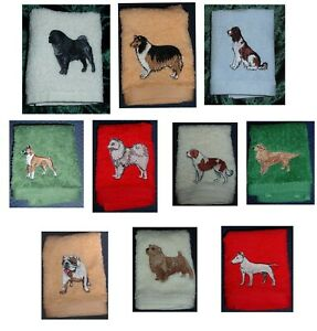 personalised flannels/ face cloths with dogs and names embroidered on.