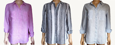 Ex Marks & Spencer Linen Shirt Top Striped Size 6 8 10 12 14 16 18 20 22 24 (78)