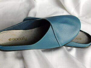 SOCOFY comfort TEAL BLUE genuine LEATHER shoes FLATS MULES slides  39/245   8 m