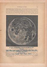 1903 Astronomía alemán imprimir la Lunas prinicpal montañas clave superficie de tierra