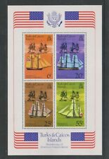 Turks & Caicos - 1976, American Revolution, Ships sheet - MNH - SG MS450