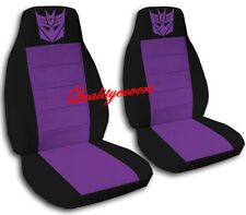 Decepticon Car Seat Covers in Purple & Black Velour Front Set