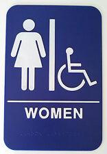 WOMAN Handicap ADA Compliant Sign +Braille Blue Public Accommodation Facilities