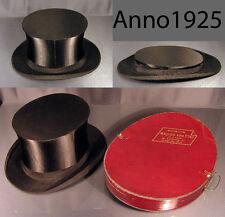 Antiker Chapeau Claque Zylinder von 1925 Seide schwarz Klappzylinder + Hutkarton