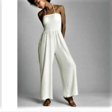 c1ca87608196 NEW Gap Womens Softspun Strapless Smocked Top Jumpsuit Pants White M 8 10   79