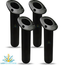 4 X BOAT MARINE WEATHER RESISTANT RECESSED LARGE OVAL BLACK FISHING ROD HOLDERS