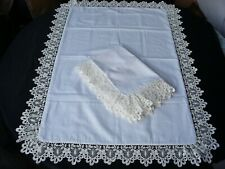 Pillowcases (2)  White Cotton Sateen Embroidered Lace Standard Queen King 2#