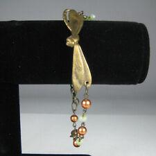 Dragonfly Metal Bangle Beaded Blue Bracelet Goldtone 3/8 Inch Wide Brasstone